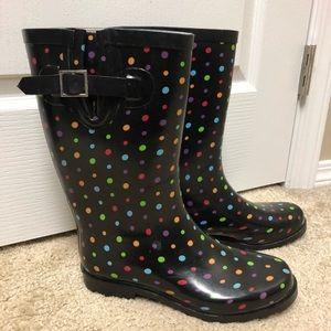 Polka Dot rainbow, Merona Rainboots, size 9
